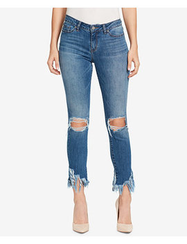 Ripped Fringe Hem Skinny Jeans by William Rast