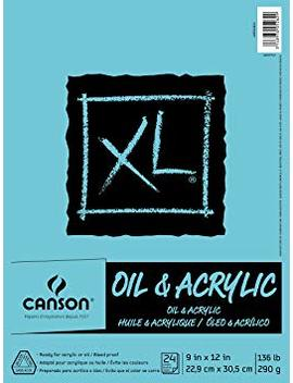 Canson Xl Series Oil And Acrylic Paper Pad, Bleed Proof Canvas Like Texture, Fold Over, 136 Pound, 9 X 12 Inch, White, 24 Sheets by Canson