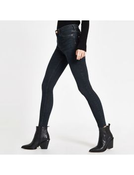 Dark Blue Ri Mid Rise Molly Jeggings by River Island
