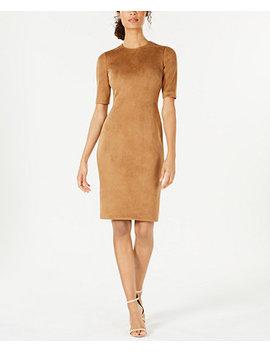 Faux Suede Sheath Dress by Anne Klein