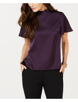 Flutter Sleeve Bow Neck Blouse by Nine West