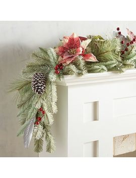 Light Green Dusted Faux Poinsettia 6' Garland by Pier1 Imports