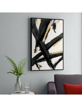Orren Ellis 'black And Gold Abstract Brushstrokes' Framed Acrylic Painting Print On Canvas & Reviews by Orren Ellis