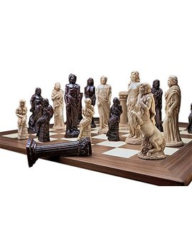 Design Toscano Gods Of Greek Mythology Complete Chess Set, 15 Cm, 16 Pieces And Board, Polyresin And Wood, Two Tone Stone by Amazon