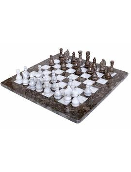 Radica Ln 16 Inches Weighted Handmade Marble Grey Oceanic And White Staunton Tournament Chess Set   Non Othello Non Go Non Magnetic   Classic Ambassador Style Adults Chess Board Game Sets by Amazon