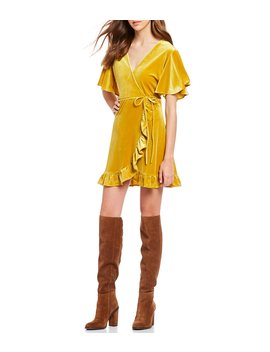 West Village Velvet Ruffle Hem Mini Wrap Dress by Bb Dakota