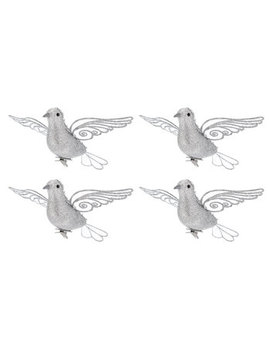 Silver Glitter Bird Clips by Hobby Lobby