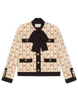 Rose Print Silk Marocain Jacket by Gucci