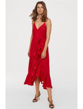 Жаккардовое платье на запахе by H&M