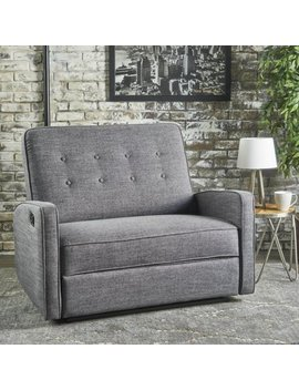 Noble House Buttoned Fabric Reclining Loveseat,Grey by Noble House