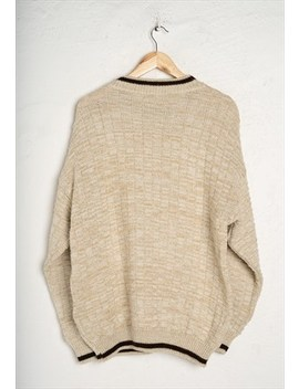 Jumper by Men Creme Beige Country Lakes Knit Jumper L