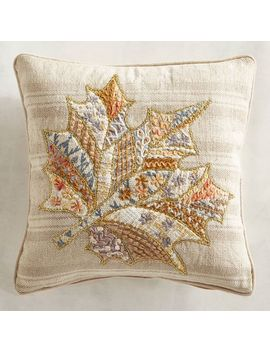 Embroidered Natural Leaf Mini Pillow by Gracious Gatherings Collection