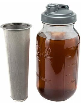 Cold Brew Coffee Maker & Tea Infuser Kit   2 Quart Glass Ball Mason Jar, Re Cap Pour Spout, And Stainless Steel Filter by Crave