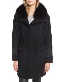 Whitney Genuine Fox Fur Trim Coat by Trina Turk
