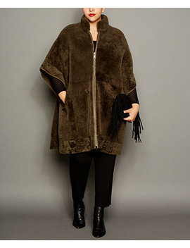 Plus Size Shearling Lamb Coat by The Fur Vault