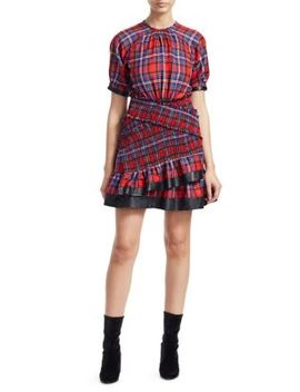 Nicole Plaid Ruffled Mini Dress by Tanya Taylor