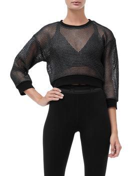 Branded Mesh Pullover Sweatshirt by Good American