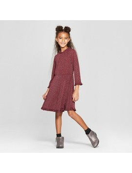 Girls' Ruffle Edge A Line Dress With Lurex   Art Class™ Burgundy by Art Class