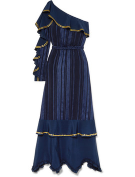 Artemis Ruffled Embroidered Satin Trimmed Silk Blend Voile Maxi Dress by Zeus+Dione
