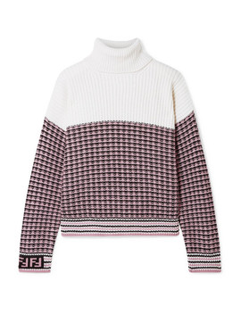Paneled Wool And Cashmere Blend Turtleneck Sweater by Fendi
