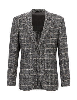 Plain Check Blazer In Blended Fabric With Elbow Patches by Boss