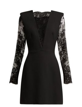 Sarabande Lace And Wool Blend Mini Dress by Alexander Mc Queen