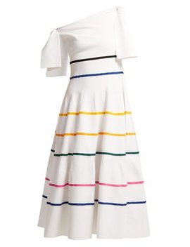 Striped Off The Shoulder Knitted Midi Dress by Carolina Herrera