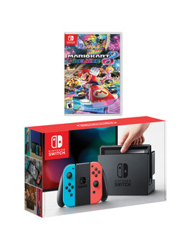 Nintendo Switch Console With Neon Red/Blue Joy Con & Mario Kart 8 Deluxe Bundle by Nintendo