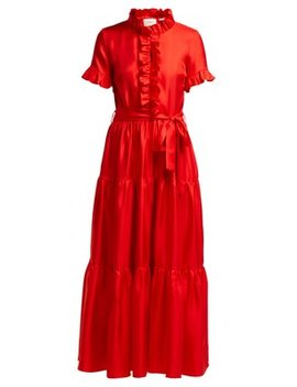 Long & Sassy Ruffled Silk Satin Dress by La Double J