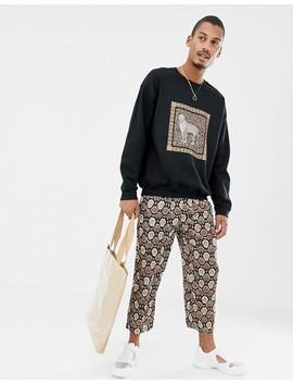 Milk It Vintage Oversized Sweatshirt With Leopard Box Print by Milk It