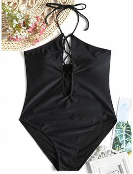 High Cut Lace Up One Piece Swimsuit   Black 2xl by Zaful