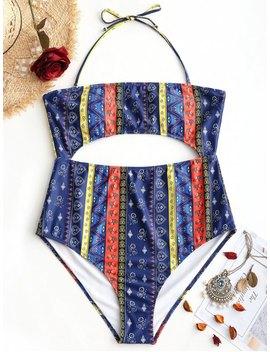 Cut Out Tribe Print Plus Size Swimwear   2xl by Zaful