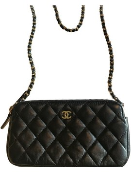 Wallet On Black Leather With Gold And Black Chain Cross Body Bag by Chanel