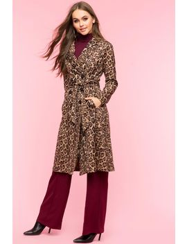 Faux Suede Leopard Trench Coat by A'gaci