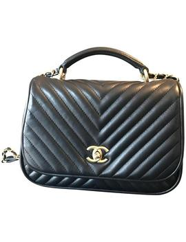 Top Handle Classic Flap With Gold Accent Hardware Black Lambskin Leather Shoulder Bag by Chanel