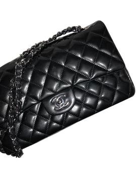 Classic Striated Medium Double Flap Black Patent Leather Cross Body Bag by Chanel