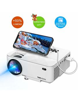 "Mini Projector, T Topvision Projector With Synchronize Smart Phone Screen +50 Percents Lumens, Supported 1080 P, 176"" Display, 50,000 Hours Led, Compatible With Fire Tv Stick/Hdmi/Vga/Usb/Tv/Box/Laptop/Dvd by T Topvision"