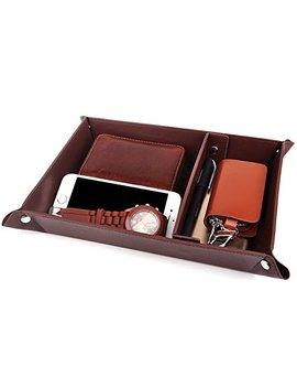 Valet Tray Jewelry Organizer,Pu Leather Watch Box Coin Change Key Tray For Storage Coffee by Amazon