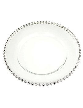 Glass Charger Plate Beaded Edge, Silver, 12 Inch by Firefly Imports