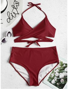 Plus Size High Rise Wrap Bikini Set   Firebrick 2x by Zaful