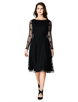 Polka Dot Embellished Tulle And Cotton Knit Dress by Eshakti
