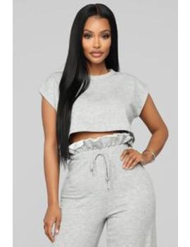 Ruffle Chillin Pant Set   Heather Grey by Fashion Nova