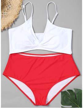Cutout Two Tone Plus Size Swimsuit   Red 3xl by Zaful