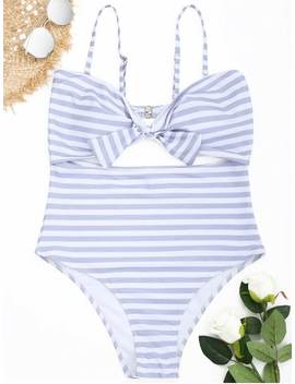 Cutout Striped Plus Size Swimsuit   Grey And White 3xl by Zaful