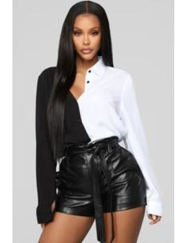 Didn't Cha Know Shirt   Black/White by Fashion Nova