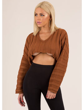 Keep It Short Cropped Rib Knit Sweater by Go Jane
