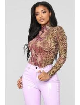 No Snakes Allowed Bodysuit   Purple/Combo by Fashion Nova
