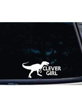 "Barefoot Graphix Clever Girl W Velociraptor Image   8"" X 3 1/2"" Die Cut Vinyl Decal For Window, Car, Truck, Tool Box, Virtually Any Hard, Smooth Surface by Barefoot Graphix"