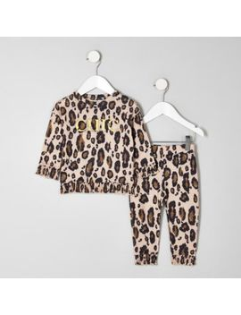 Mini Girls Leopard Print 'Chic' Jogger Outfit by River Island