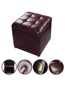 Mascarello Faux Leather Ottoman Pouffe Storage Single Seat Toy Box Foot Stool Brown by Mascarello